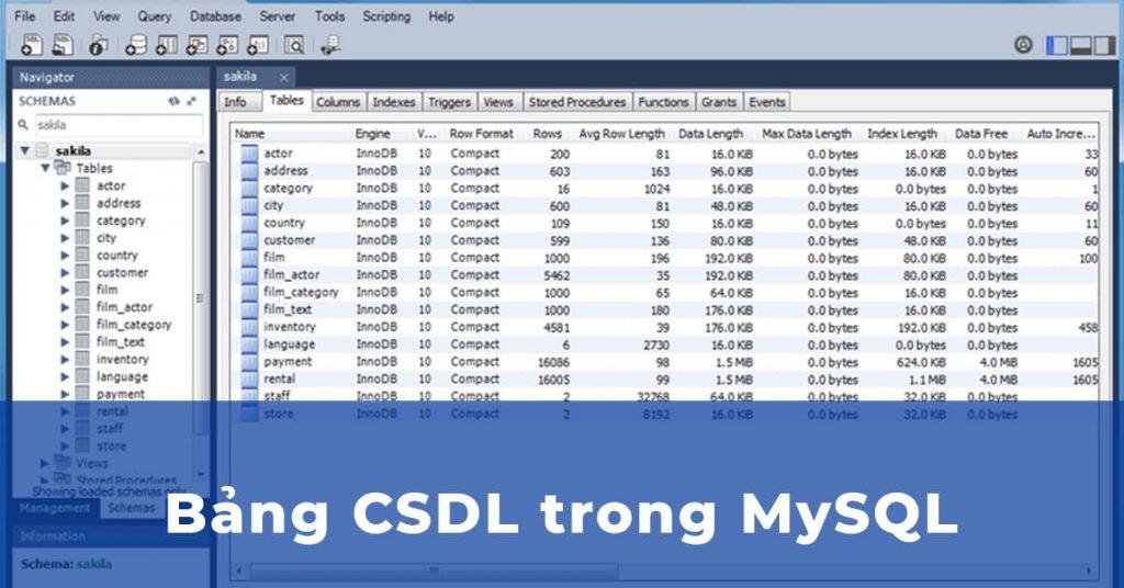 Ví dụ Bảng CSDL trong MySQL