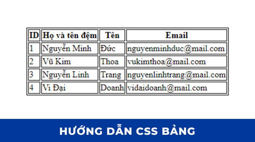 Tạo một bảng đơn giản với HTML