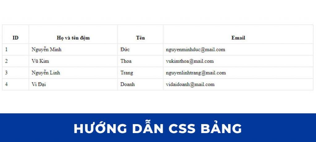 CSS Table: Căn chỉnh nội dung theo chiều dọc của ô