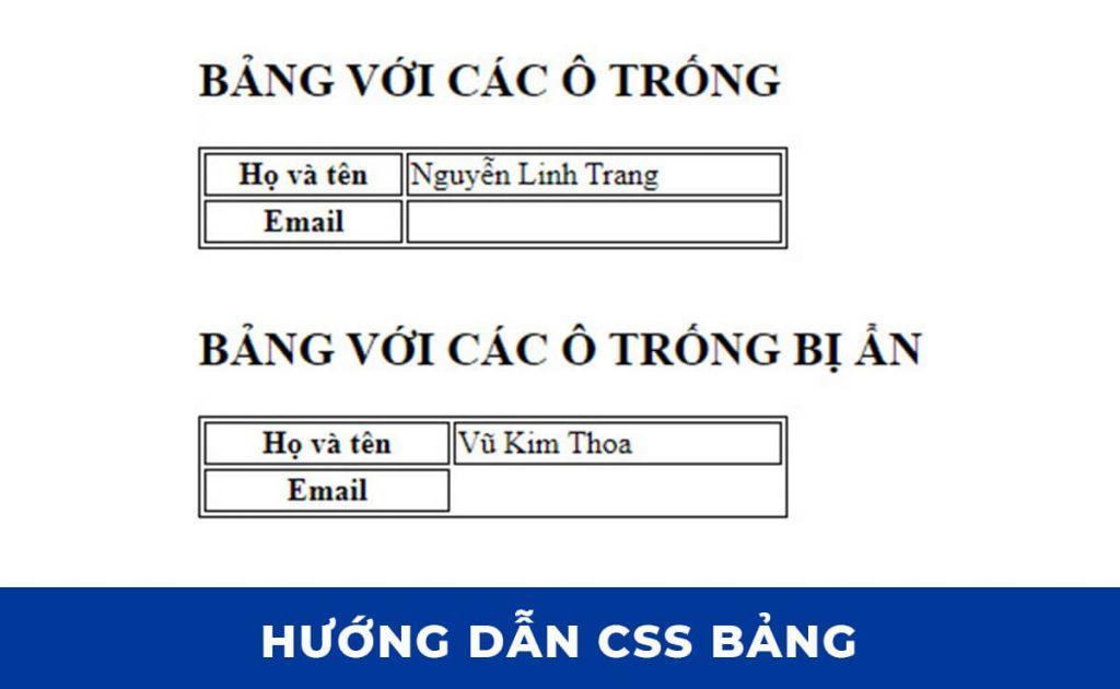 CSS Table: Kiểm soát các ô trống trong bảng