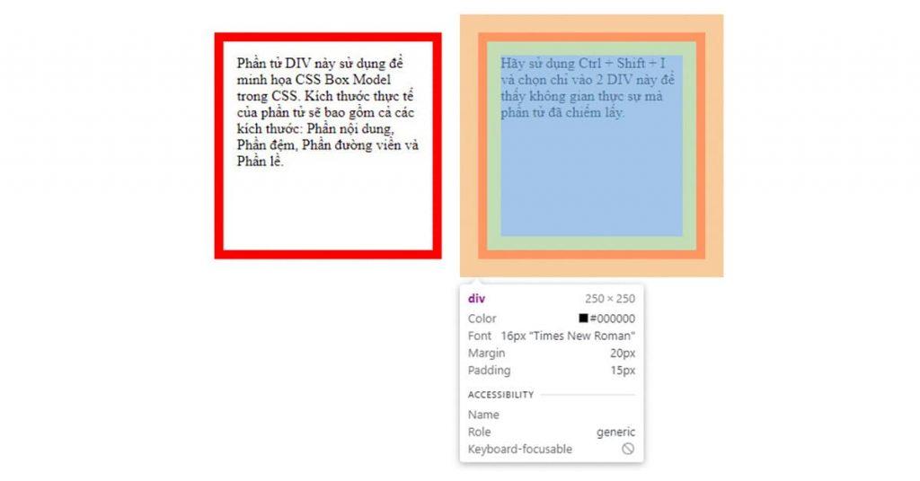 Ví dụ minh họa kích thước thật của phần tử CSS - CSS Box Model