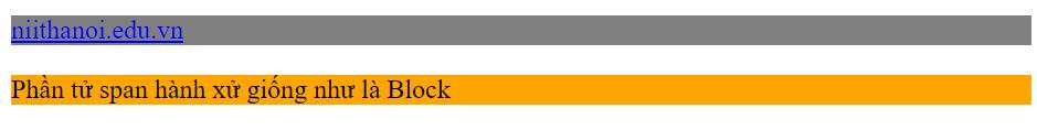 Ví dụ thay đổi phần tử Inline hiển thị như phần tử Block