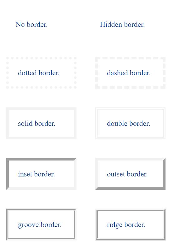 Các loại đường viền trong CSS
